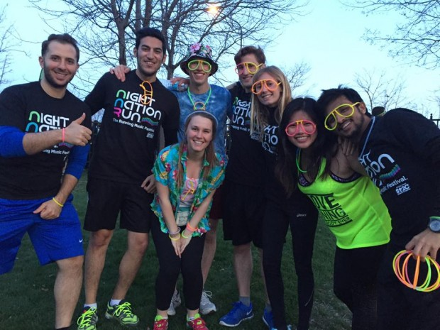 David (4th from right) with friends at the Night Nation Fun Run