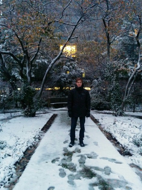 David on campus at Northwestern in winter