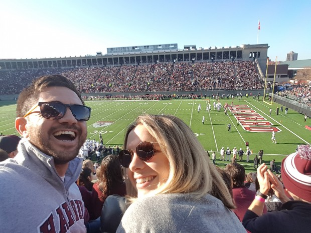 Mataroria Lyndon with Australian Fulbright scholar Matilda Anderson at the Harvard-Yale game
