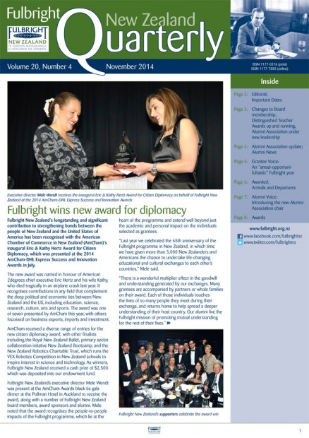Fulbright New Zealand Quarterly, November 2014