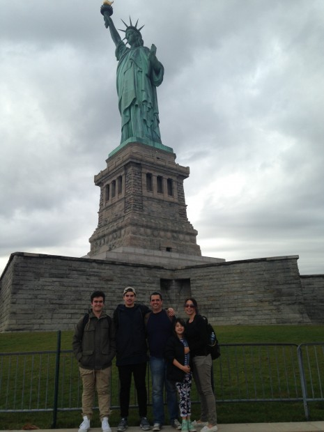 Rangi and family at the Statue of Liberty