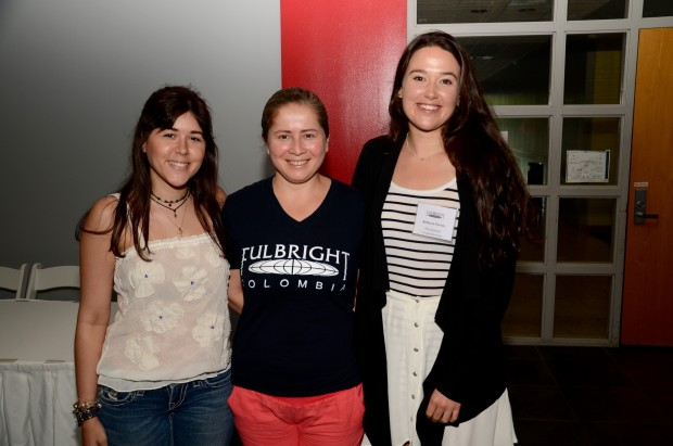 Rebecca (right) with new friends at her Fulbright orientation in Miami